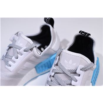 timeless design differently good quality New Adidas NMD R1 Runner Light Grey/White-Blue Men's and Women's ...